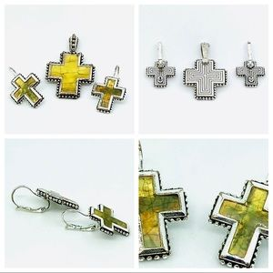 Premier Designs Cross Pendant Earrings Set Enamel